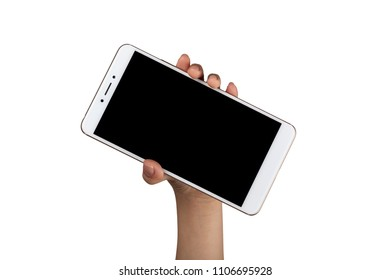 Closeup of a child's hand holding a large screen smartphone isolated on white background