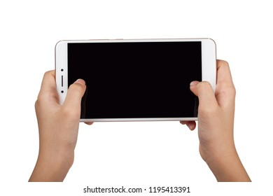 Closeup of a child's pair of hand holding a large screen smartphone isolated on white background