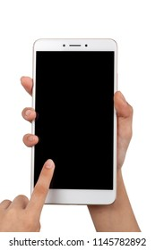 Closeup of a child's pair of hand using a large screen smartphone isolated on white background