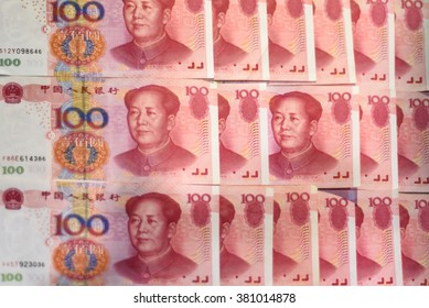 Closeup Chinese currency renminbi banknotes. Investments in China.
