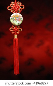 Closeup of Chinese Knot with traditional pattern.