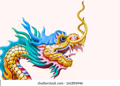 closeup chinese style dragon statue  isolated on white background