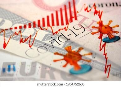 Gros plan sur des billets en yuan chinois, en dollars et en euros avec les titres des journaux Corona / Covid-19 et une tendance à la baisse du marché financier