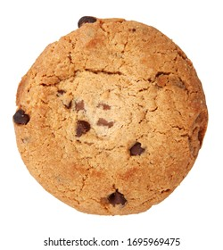 Close-Up Of Chocolate Chip Cookie On White Background