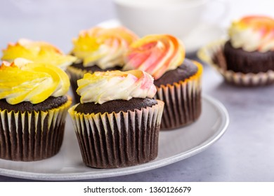 Closeup of chocolate cupcakes with colorful buttercream icing on a plate