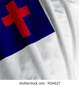 Closeup of the Christian flag, square image