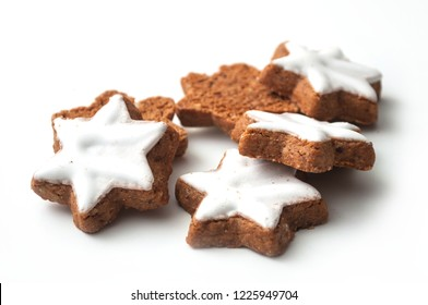 closeup of christmas biscuit in shaped star on white background