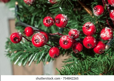 closeup of christmas decoration with red berries in artificial christmas tree in the street