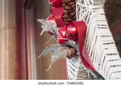 closeup of christmas decoration in the street