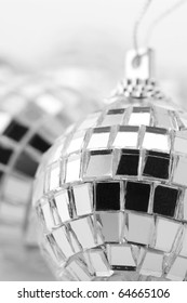 Close-up of Christmas disco balls.