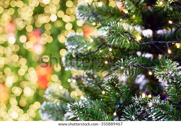 Closeup Christmas Lights Hanging Christmas Tree Stock Photo