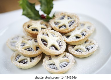 Closeup of Christmas mince pies on plate