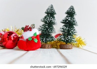 Closeup of Christmas sock with christmas trees.Creative for colorful greeting card. Merry Christmas and Happy New Year Celebration.
