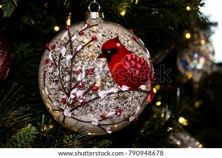 closeup of a christmas tree ornament with a red cardinal