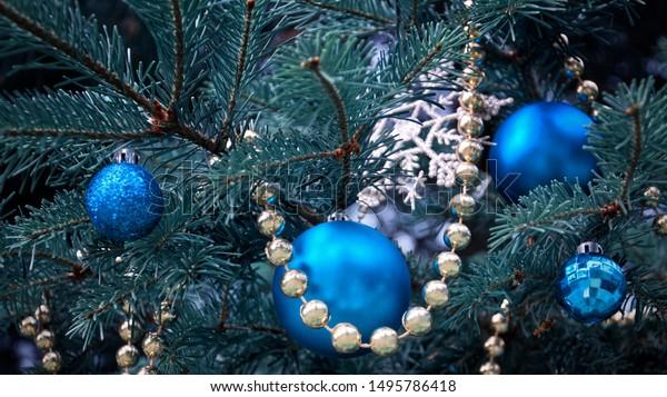 Closeup Christmas Tree Rose Gold Turquoise Stock Photo Edit Now 1495786418