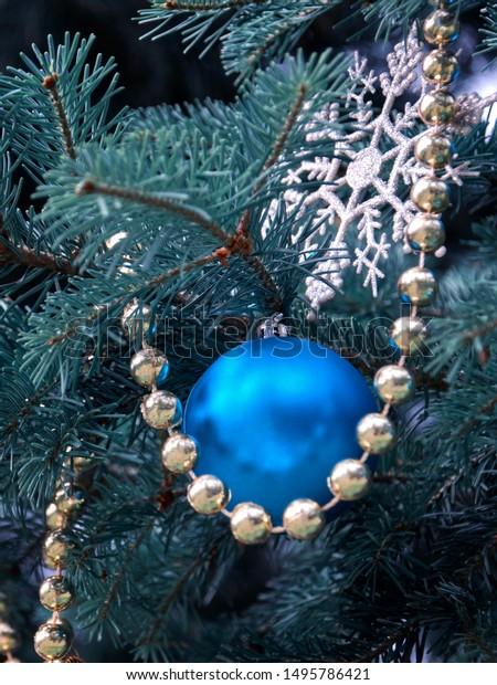 Closeup Christmas Tree Rose Gold Turquoise Stock Photo Edit Now 1495786421