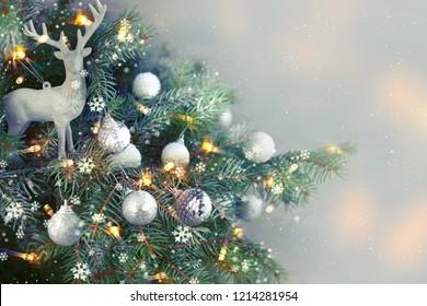Closeup of Christmas-tree background - Shutterstock ID 1214281954