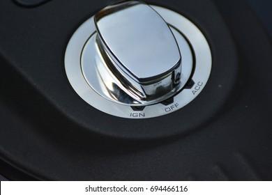 Close-up  chromed motorcycle tank cap