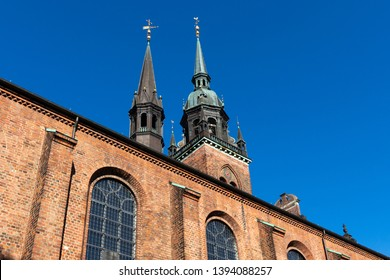 close-up of the Church of the Holy Ghost in Copenhagen