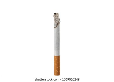 close-up cigarette isolated on a white background . yellow filter burning cigarette isolated on white background. cigarette with ash.