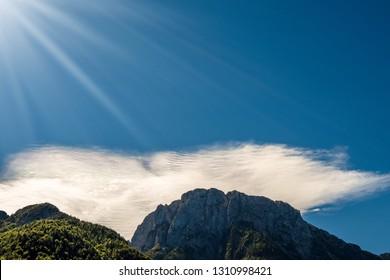 Close-up of the Cima del Lago (Peak of the lake) near of the Lake of the Predil, Italy Slovenia border, Tarvisio, Udine, Friuli Venezia Giulia, Europe