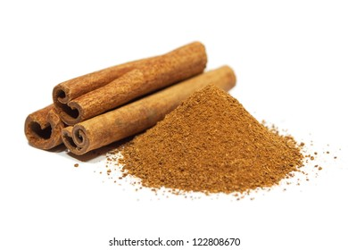 Close-up of cinnamon isolated on white background.