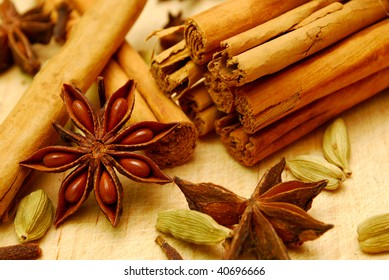 close-up of cinnamon and spices