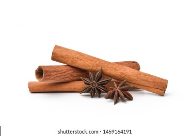 Close-up Cinnamon and Star Anise isolated on white background, Herb seasoning.