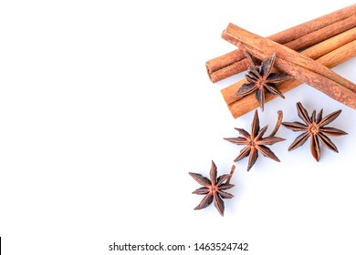 Closeup Cinnamon sticks and star anice    or aniseed isolated on white background. Natural herbal plant,spices seasoning concept. Top view. Flat lay