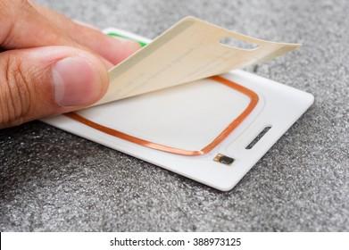 closeup circuit and antenna inside RFID card