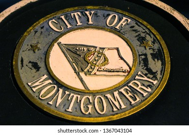 Closeup of City of Montgomery seal flag coat of arms in historic downtown