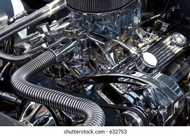 Close-up of a classic car engine