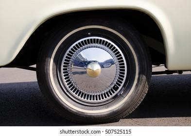Close-up of classic car wheel