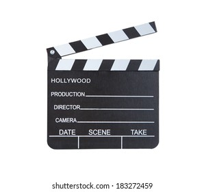 Close-up of a classical movie clapper ready to record a new Hollywood production  with blank spaces for director  camera  date  scene and take  isolated on white background