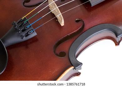 Closeup of classical violin. Classical musical instrument