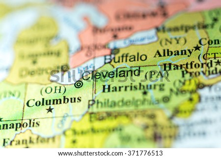 Closeup Cleveland Ohio On Political Map Stock Photo (Edit Now ... on
