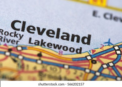 Closeup of Cleveland, Ohio on a road map of the United States.