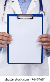 close-up of a clipboard with blank copyspace, held by medical doctor. Isolated on white background.