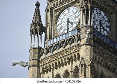 Closeup of the clocktower of Parliament building in Ottawa