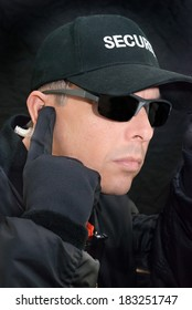 Close-up of a close protection officer searching for a specific threat.