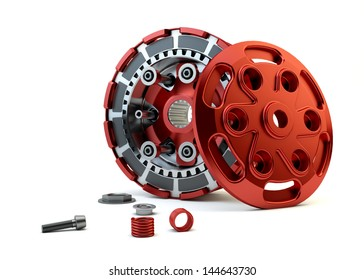 Closeup Clutch parts disassembled isolated on white background