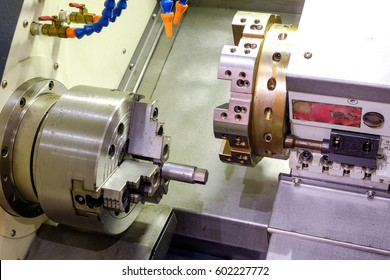 Close-up CNC Lathe machine for industrial factory