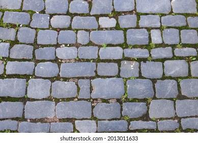 close-up of cobblestone street paving