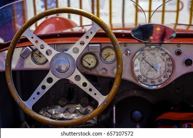 Close-up of the cockpit of vintage retro sports car.