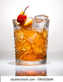 closeup of Cocktail old fashion