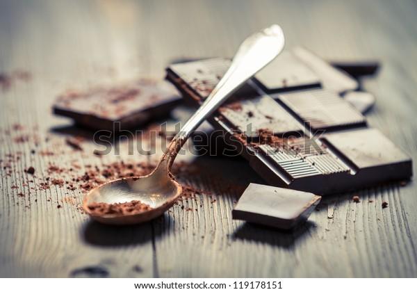Closeup of Cocoa Powder and Dark Chocolate