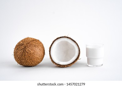 Close-Up Of Coconut Against White Background