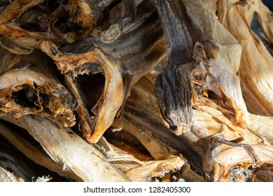 Closeup of cod fish to drying