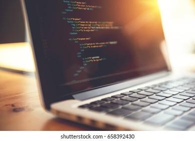 Closeup coding html and programming on screen laptop, development web, developer.