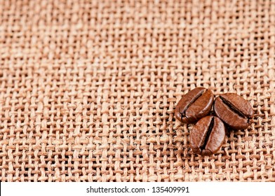 Closeup of coffee beans on the old burlap